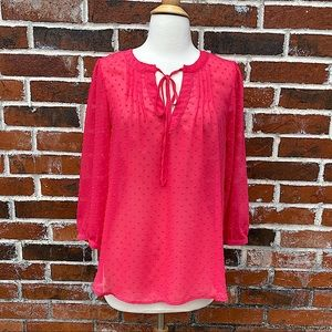 Elle small pink polka dot tie collar blouse.